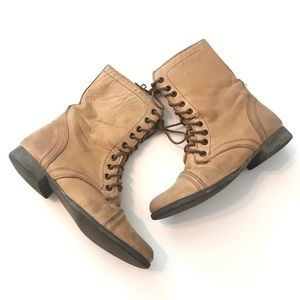 Steve Madden Tan Leather Combat Boots 6